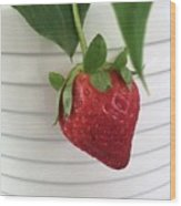 Hanging Strawberry Wood Print