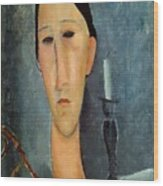 Hanka Zborowska With A Candlestick Wood Print by Amedeo Modigliani