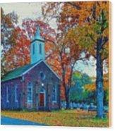 Hanover Church - Fall Wood Print