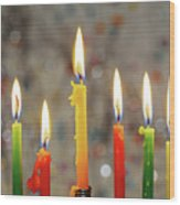 Hanukkah Menorah With Burning Candles Wood Print