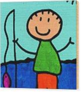 Happi Arte 2 - Boy Fish Art Wood Print by Sharon Cummings