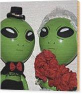 Happily Wedded Aliens Wood Print