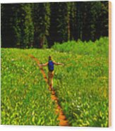Happiness Is A Trail Wood Print