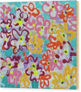Happy Abstract Flowers Wood Print