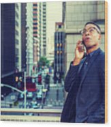 Happy African American Businessman Working In New York Wood Print