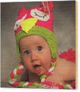 Happy Baby In A Woollen Hat Wood Print
