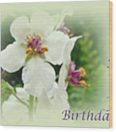 Happy Birthday - Floral - Moth Mullein Wood Print