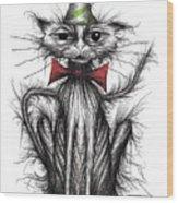 Happy Birthday Cat Wood Print