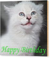 Happy Birthday Kitty Wood Print
