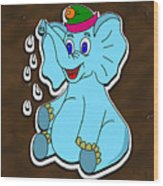 Happy Blue Elephant Gingerbread Wood Print