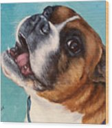 Happy Boxer Dog Wood Print