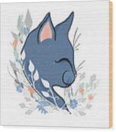Happy Cat In The Springtime Garden Wood Print