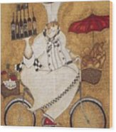 Happy Chef On The Bike Wood Print
