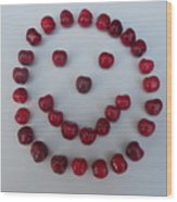 Happy Cherry Face Wood Print