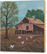 Happy Chickens Wood Print