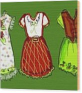 Happy Christmas Dresses Wood Print