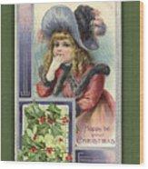 Happy Christmas Vintage Card  Wood Print