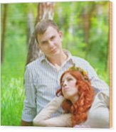 Happy Couple In A Park Wood Print