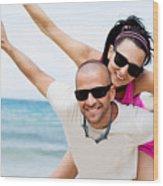 Happy Couple On Beach Wood Print