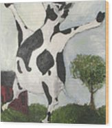Happy Cow Wood Print