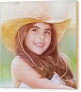 Happy Cute Girl Portrait Wood Print