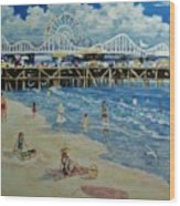 Happy Day At Santa Monica Beach And Pier Wood Print