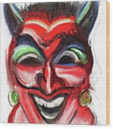 Happy Devil Wood Print