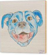 Happy Dog Blue Wood Print