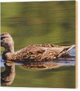 Happy Duck Wood Print
