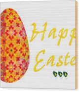 Happy Easter Abstract Greeting Card Art By Omaste Witkowski  Wood Print