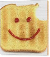 Happy Face And Bread Wood Print by Blink Images