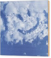 Happy Face Sky Wood Print