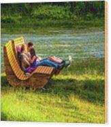 Young Family Enjoying The Swiss Country Side Wood Print