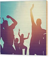Happy Friends Family Jumping Together Having Fun Wood Print