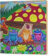 Happy Frog Meadows Wood Print