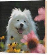 Happy Gal In The Garden Wood Print