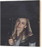 Happy Girl At Rainy Night Outdoors Wood Print