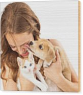 Happy Girl With Kitten And Affectionate Puppy Wood Print