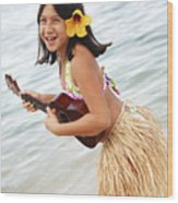 Happy Girl With Ukulele Wood Print by Brandon Tabiolo - Printscapes