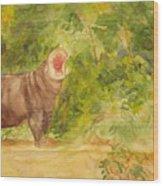 Happy Hippo Wood Print