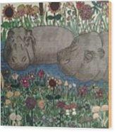 Happy Hippos Wood Print