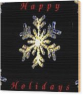 Happy Holiday Snowflakes Wood Print