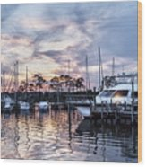 Happy Hour Sunset At Bluewater Bay Marina, Florida Wood Print