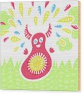 Happy Jumping Creature Wood Print