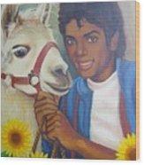 Happy Michael Jackson With His Pet Llama  Wood Print