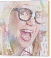 Happy Nerd Girl Singing Karaoke And Dancing Wood Print