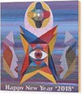 Happy New Year 2018 Wood Print
