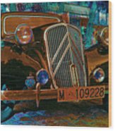 Happy Old Citroen Wood Print