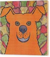 Happy Orange Doggy Dog Wood Print