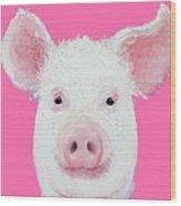Happy Pig Portrait Wood Print